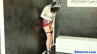 Young Melisa rubs pussy at gloryhole