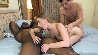 Blonde Wife Creampied By Black Cock in Front of Husband