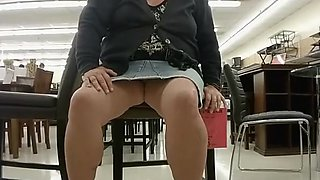 Chubby blonde flashes her fat shaved pussy