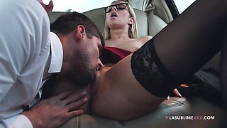 Blonde cutie Nikky Dream opens her legs to be fucked in the car