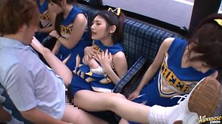 Horny Japanese Cheerleaders Get in a Bus to Fuck the Commuters