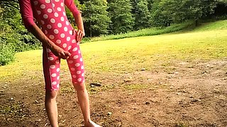 young boy in mid-leght swimsuit masturbate and cum outdoor