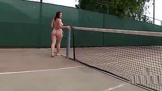 Beryl Aspen naked in tennis court.