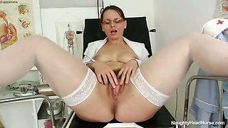 Hairy mom wears glasses and nurse uniform
