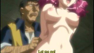 Chained hentai coeds peeing and groupfucking
