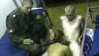Young amateur babe gangbanged by a group of soldiers