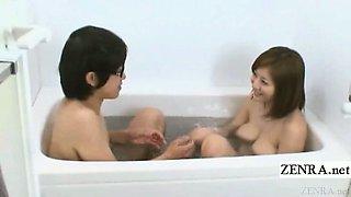 Subtitled busty Japan AV star micro bikini bathing aid