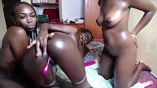 3 horny ebony teen lesbian