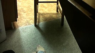 Dominant brunette in nylons makes a guy worship her feet