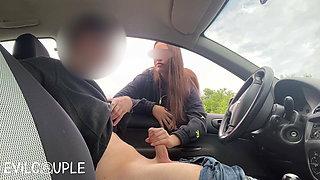 Hot Stranger Girl Jerked me off in the Busy Parking Lot