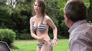 Perfect Natural Teen Fucked by Grandpa Outside Swallows