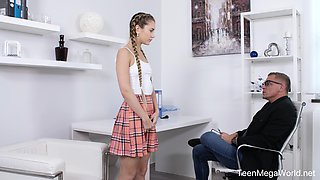 Cutest coed in kilt skirt Mary Rock gets intimate with her teacher