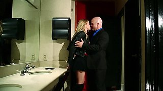 Pretty blonde and bald buddy have quick sex in the toilet