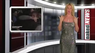 Gorgeous newscasters strip from classy dresses