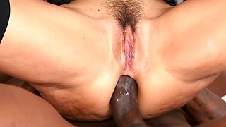 Luxurious MILF blacked by five excited stallions with big dicks