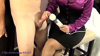 Elegant amateur milf with sexy legs gives a sensual handjob
