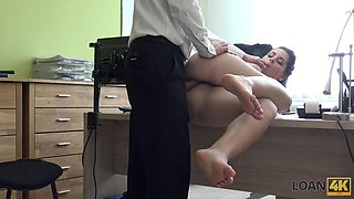 The intern interview leads to some steamy fuck with her future boss