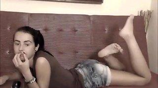 Cute amateur teen teasing on cam