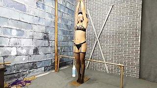 滑轮股绳 遥控跳蛋 双乳头通过滑轮加重吊起 虐乳虐阴 疼痛高潮