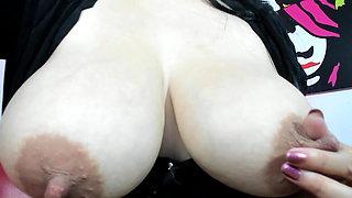 Busty Latina Juliana squirts and sucks milk from big nipples