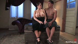 Brunette mistress with huge boobs toys Black dude in the ass