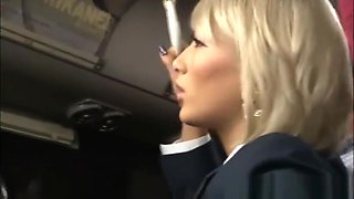Japanese blonde AIKA groped in a public bus and abused in a public toilet