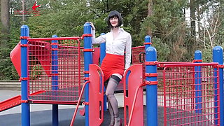 Naughty Teacher Flashes her Panties at the Park!