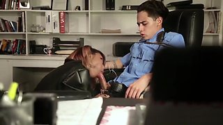 Hot Asian Ninja Gets Caught and Ties Up Cop In Office Chair and Fucks Him