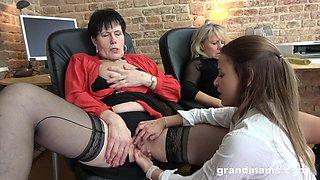 Two bossy grannies are fucking pretty young secretary Victoria