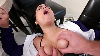 A hot and cute schoolgirl is getting fucked after school