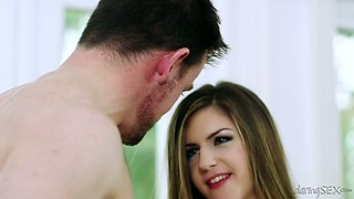 Beautiful girl with perfect body Stella Cox fucks her BF in bed
