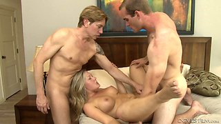 Beautiful bisexual fucking with a couple sharing a guy