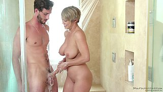 Busty Dee Williams gets her cunt massaged with a hard dick