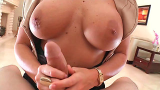 Busty brunette Gia with big tits sucks a cock and fucks