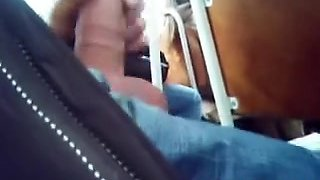 Wanking my strapon on the bus with a couple of ladies