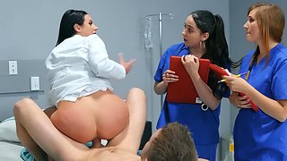 Amazingly hot brunette doctor teaches her nurses a lesson