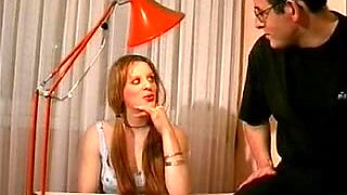 Double penetrated redhead in old young fuck video