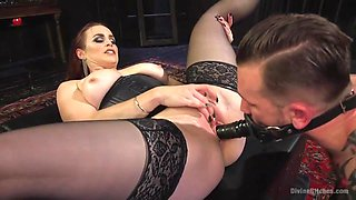 busty mistress allows slave to please her