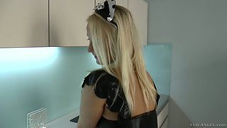 Czech hooker in sexy maid uniform Lilith Lee serves her client at the highest level
