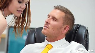 Ella Hughes is getting banged at work, because she got hired for her special skills