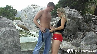 Pounding my hot girlfriend in the mountains