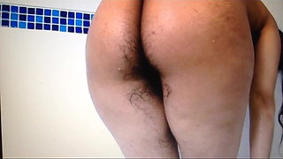 desi girl showers her hairy ass,pussy,pits & beautiful tits