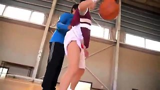 Athletic Oriental teen with big boobs gets fucked in the gym
