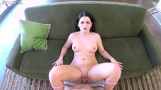 Naughty girl Mira Stone loves jerking and riding strong boner cock