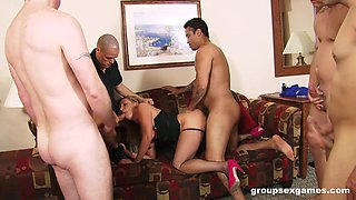 Auntie gang banged by a bunch of young lads with huge dicks