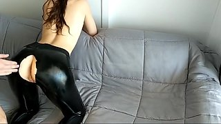 Step Brother Abuse Rips Sisters Leather Pants Cums on Her