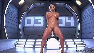 Busty milf standing and fucking machine