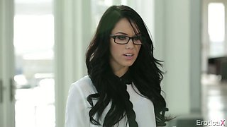 Sexy secretary in glasses Megan Rain  fucks her horny boss