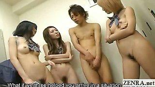 Subtitled group of Japan student nudists in locker room
