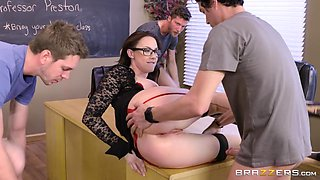 sizzling hot teacher gets all her holes pounded